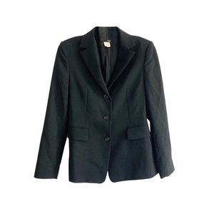 J. Crew Petite Black 100% Wool Career Blazer 2P